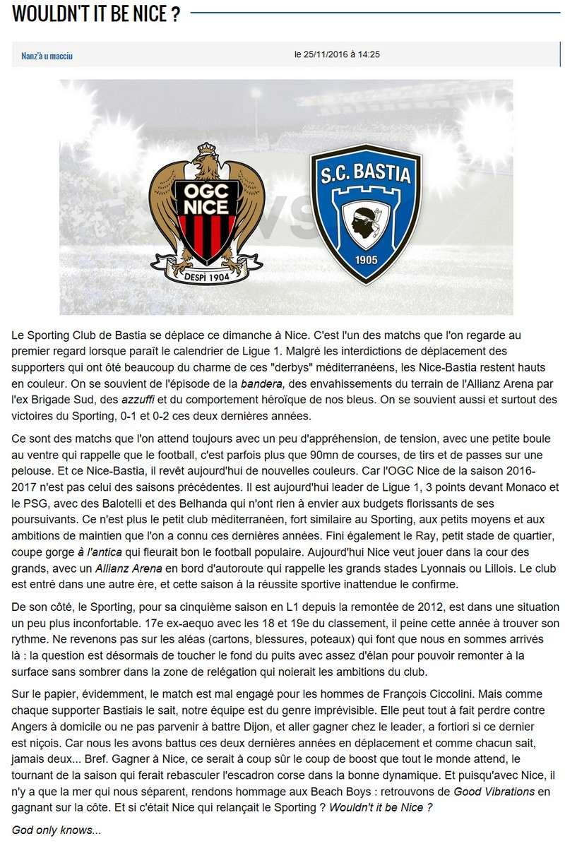 Avant match : Nice - Bastia S28