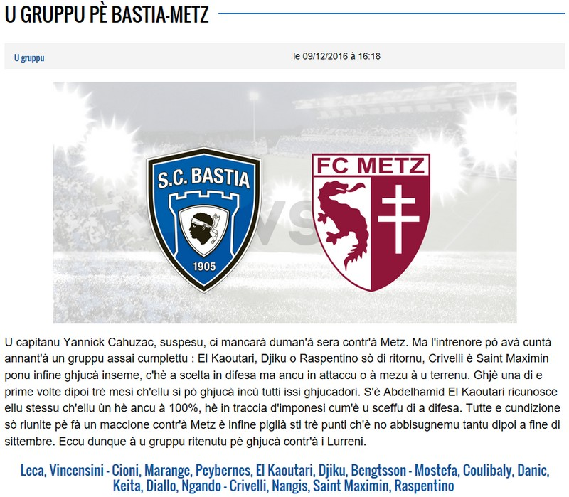 J17 / Jeu des pronos - Prono Bastia-Metz S40
