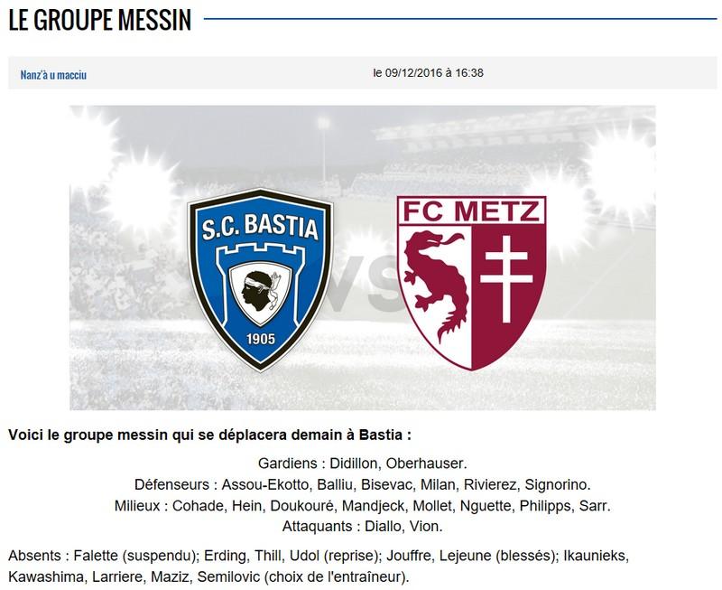 J17 / Jeu des pronos - Prono Bastia-Metz S41