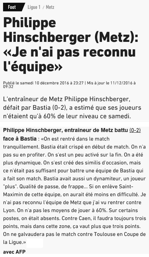 Après match : Bastia 2-0 Metz S43