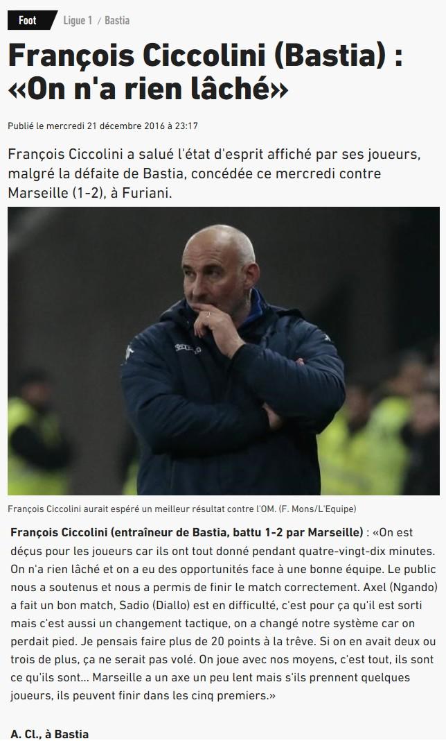 Après match : Bastia 1-2 Marseille S56