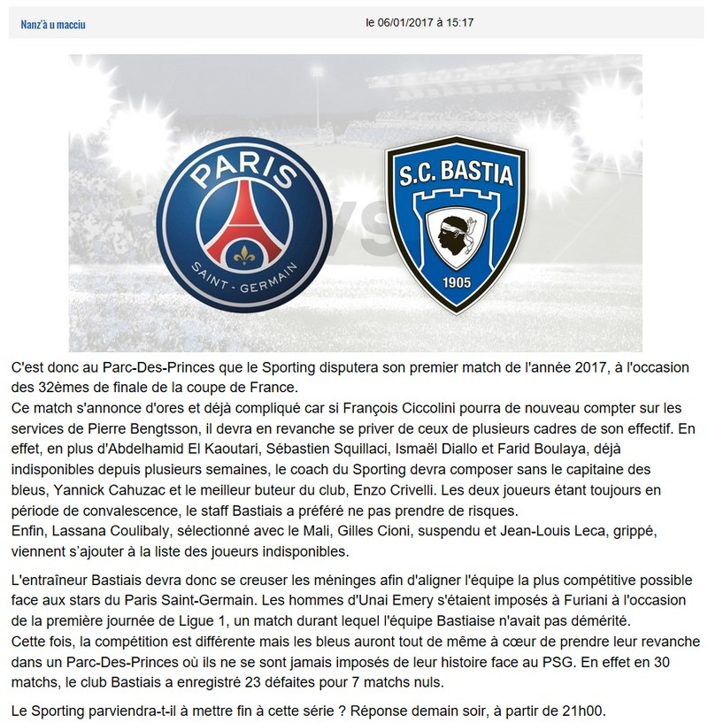 Avant match : PSG - Bastia S58