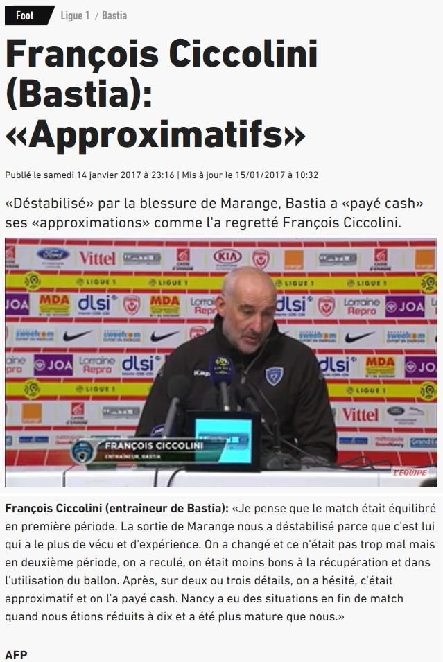 Après match : Nancy 1-0 Bastia S70