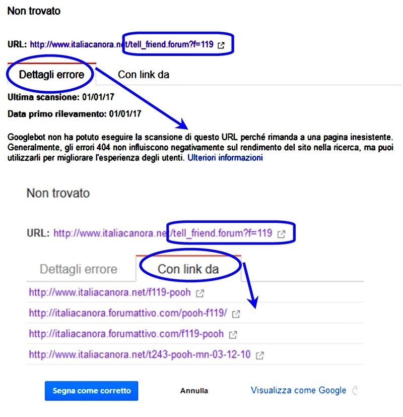 "Errori causati da url in ""Google Search Console"" Errore11"