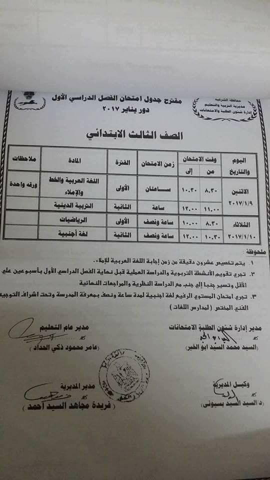 جداول امتحانات الفصل الدراسي الاول 2017 كاملا لكل المحافظات 15241910