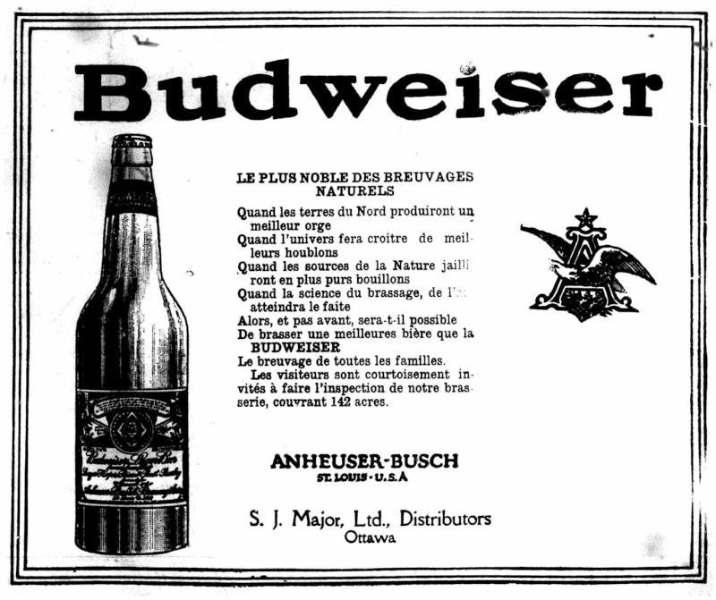 La bière Budweiser était vendue au Canada en...   1915!!! Bud_le11