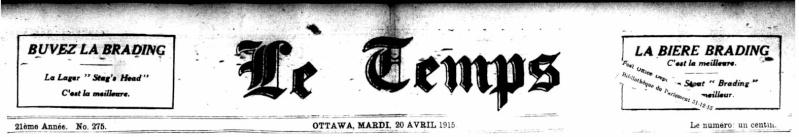 La bière Budweiser était vendue au Canada en...   1915!!! Entete10