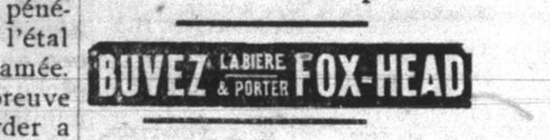 La bière Fox Head de Québec vendue à Hull en 1911 Fox-he10