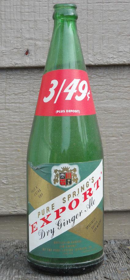 """Bouteille de liqueur """"Pure Spring"""" Export Ginger Ale - 30oz - étiquette en papier Pure-s10"""