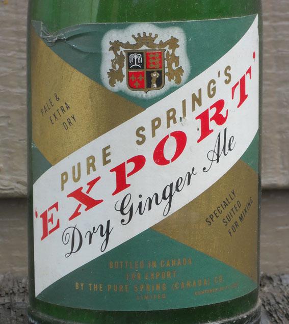 """Bouteille de liqueur """"Pure Spring"""" Export Ginger Ale - 30oz - étiquette en papier Pure-s11"""