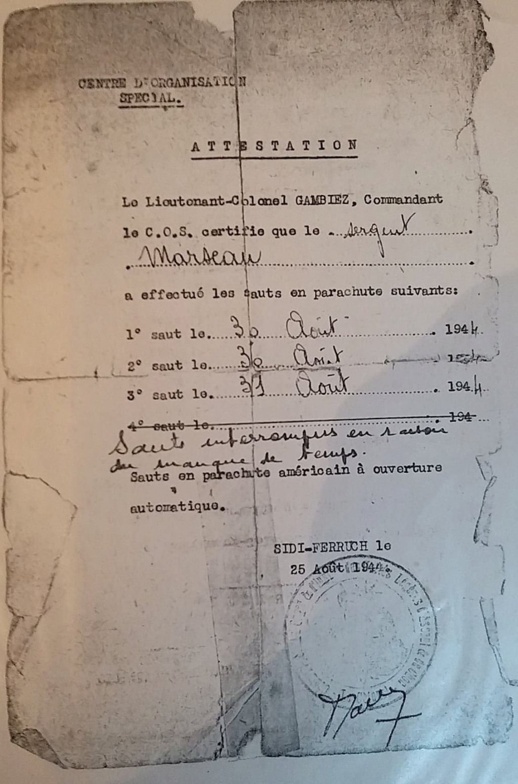 recherche sur le Chasseur Marsaud 1°Bataillon de Choc Marsau12