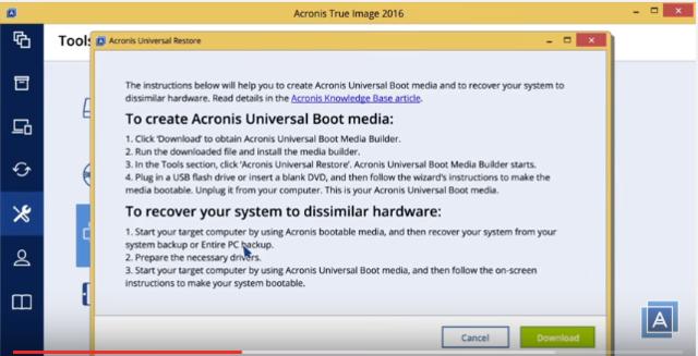 Hướng dẫn sử dụng Acronis Universal Restore Acroni10
