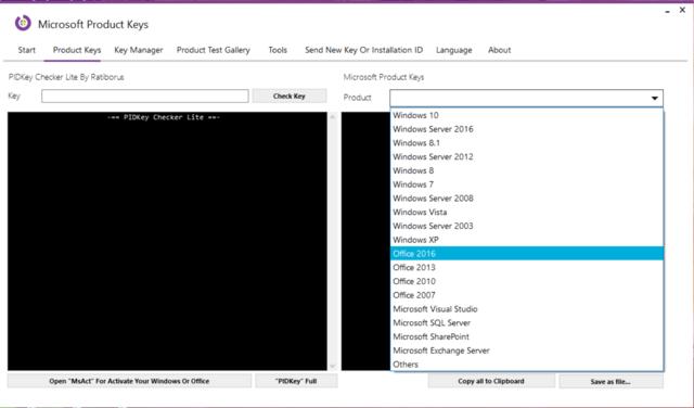 Microsoft Product Keys 2.5.0 - Tìm key và kích hoạt các sản phẩm của Microsoft Micros10