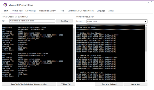 Microsoft Product Keys 2.5.0 - Tìm key và kích hoạt các sản phẩm của Microsoft Micros11