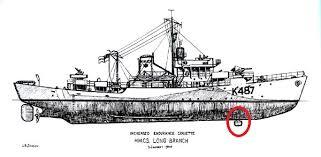 La position du dôme Asdic sur les corvettes de type fleur K48710