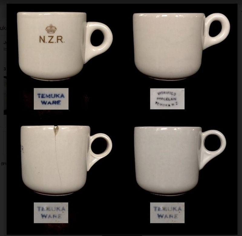 Old Temuka vitrified cups, including NZR railway cups: new shape(s) and backstamp(s) for the GALLERY Temuka11