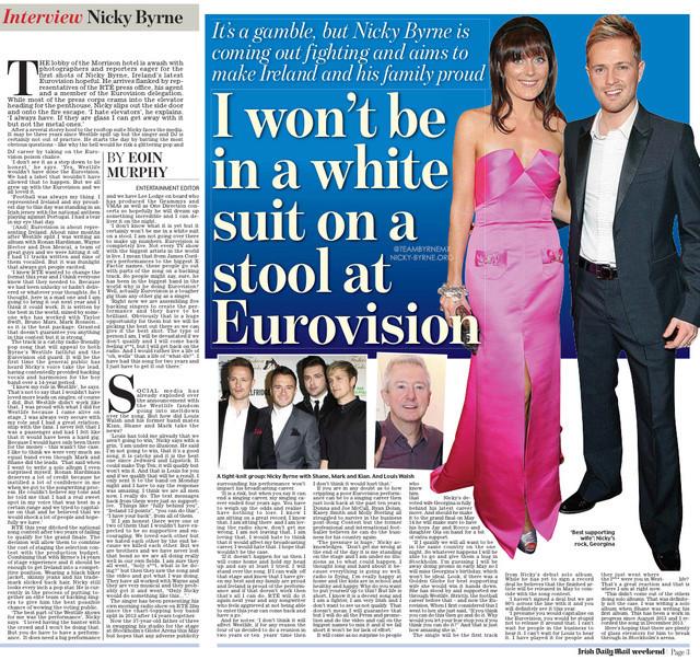 Nicky en la portada Irish Daily Mail's Weekend magazine! 022510