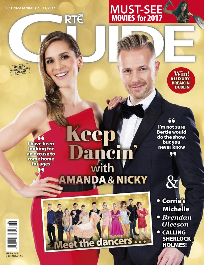 Nicky Byrne y Amanda Byram en la portada de RTE Guide C1knup10