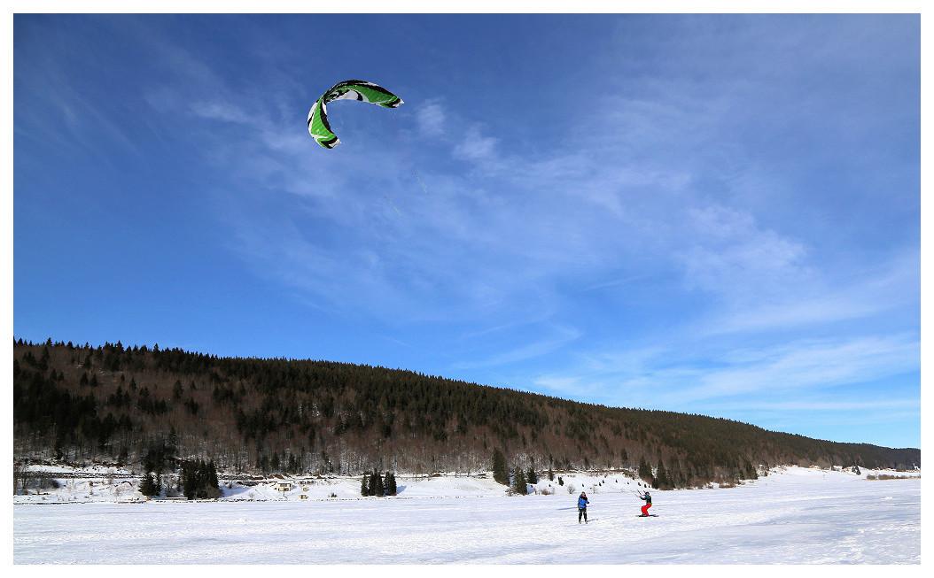 Snowkite sur le lac des Rousses Rousse11
