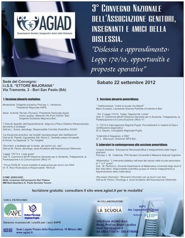 3° convegno nazionale AGIAD a Bari : Dislessia e apprendimento Locand11