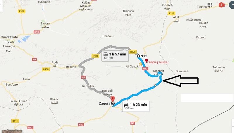 [Carburant, Routes, Police] la N12 entre Tazzarine et Zagora est  entièrement goudronnée. Mapp11