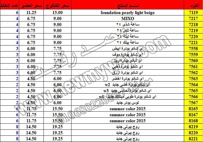 حصريا ::قائمة أسعار منتجات ماى واى في شهر ديسمبر 2016 .. بسعر الكتالوج .. بسعر العضويه .. وعدد النقاط 22_o11