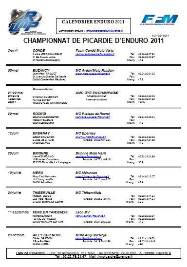 Championnat de Picardie Calendrier officiel et inscriptions Calend10