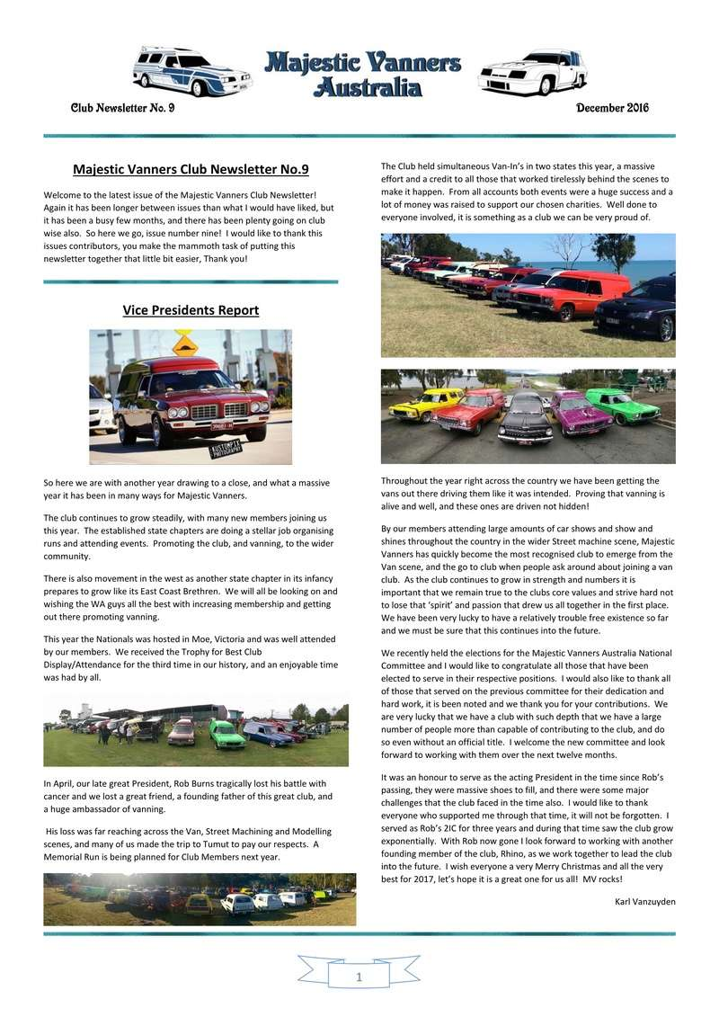 Majestic Vanners Newsletter Issue No. 9 December 2016 0110