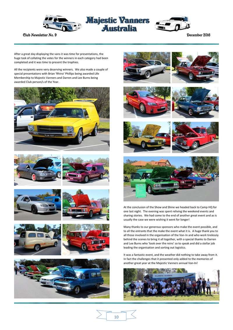 Majestic Vanners Newsletter Issue No. 9 December 2016 1010