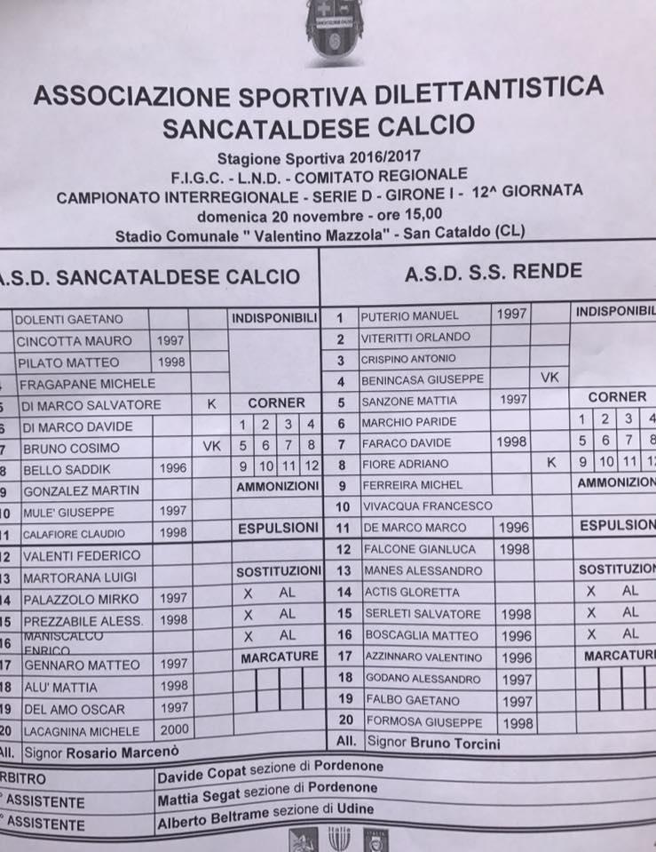 Campionato 12°giornata: SANCATALDESE - s.s. rende 1-0 15095010