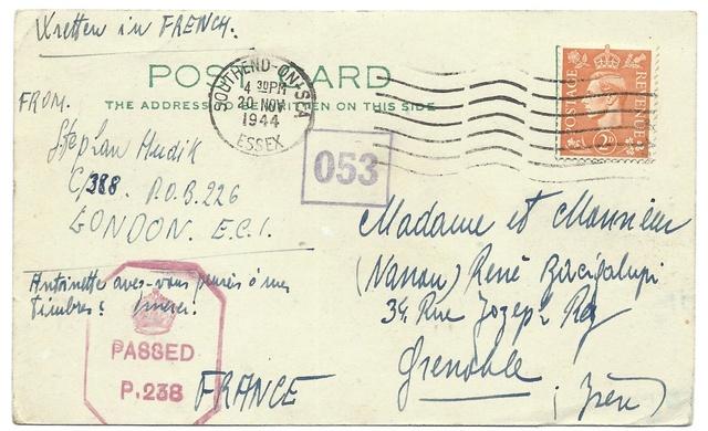 Adresse de couverture de l'armée tchécoslovaque en exil à Londres Tchyco10