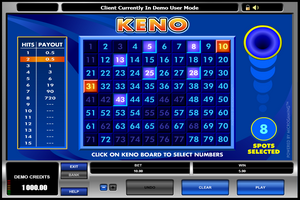 Microgaming casino game : Keno