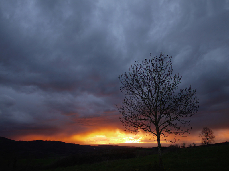 coucher de soleil sur le Cézalier (au printemps) P1100910