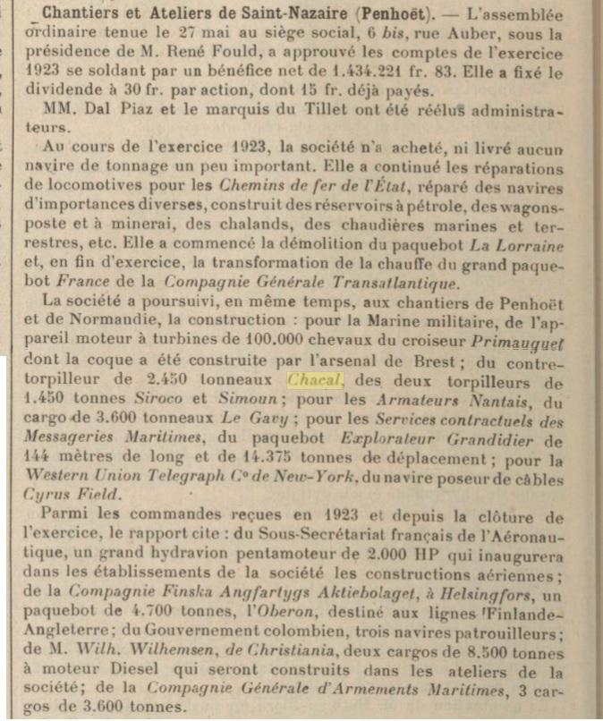 Le contre-torpilleur Chacal 19240110