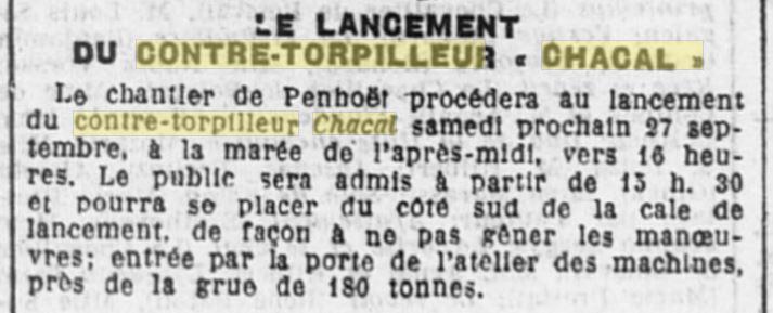 Le contre-torpilleur Chacal 19240910