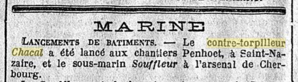Le contre-torpilleur Chacal 19241010