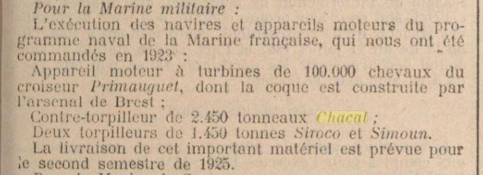 Le contre-torpilleur Chacal 19250310