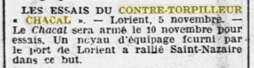 Le contre-torpilleur Chacal 19251110