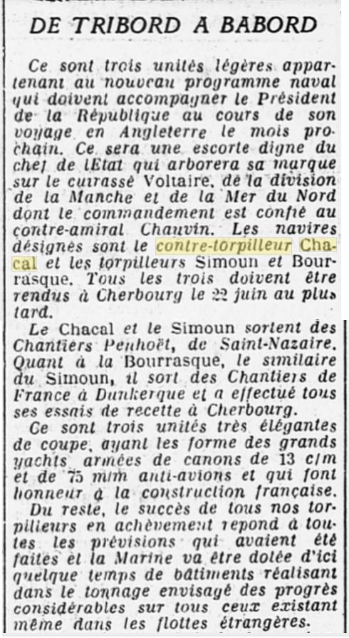 Le contre-torpilleur Chacal 19260510