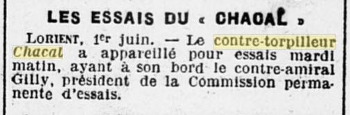 Le contre-torpilleur Chacal 19260610