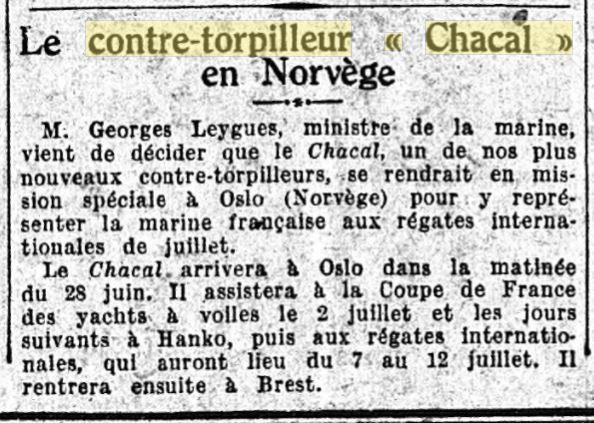 Le contre-torpilleur Chacal 19260612