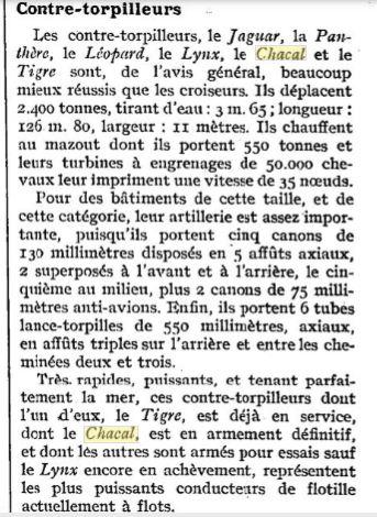 Le contre-torpilleur Chacal 19260711
