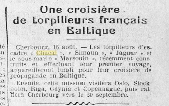 Le contre-torpilleur Chacal 19260810