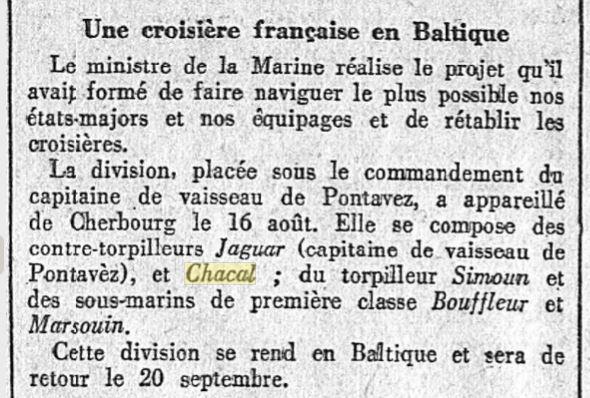 Le contre-torpilleur Chacal 19260811