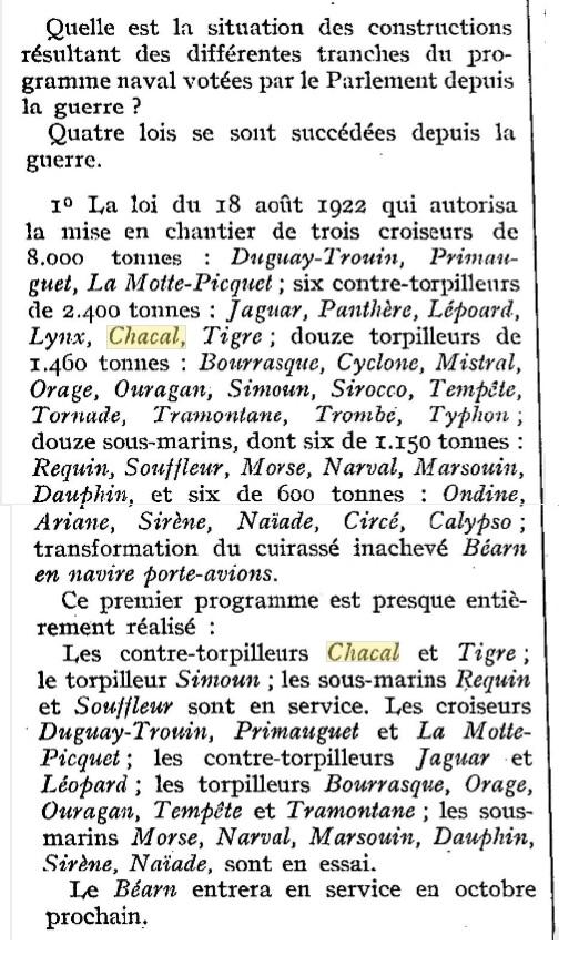Le contre-torpilleur Chacal 19260813