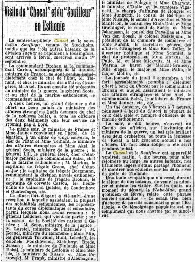 Le contre-torpilleur Chacal 19260910