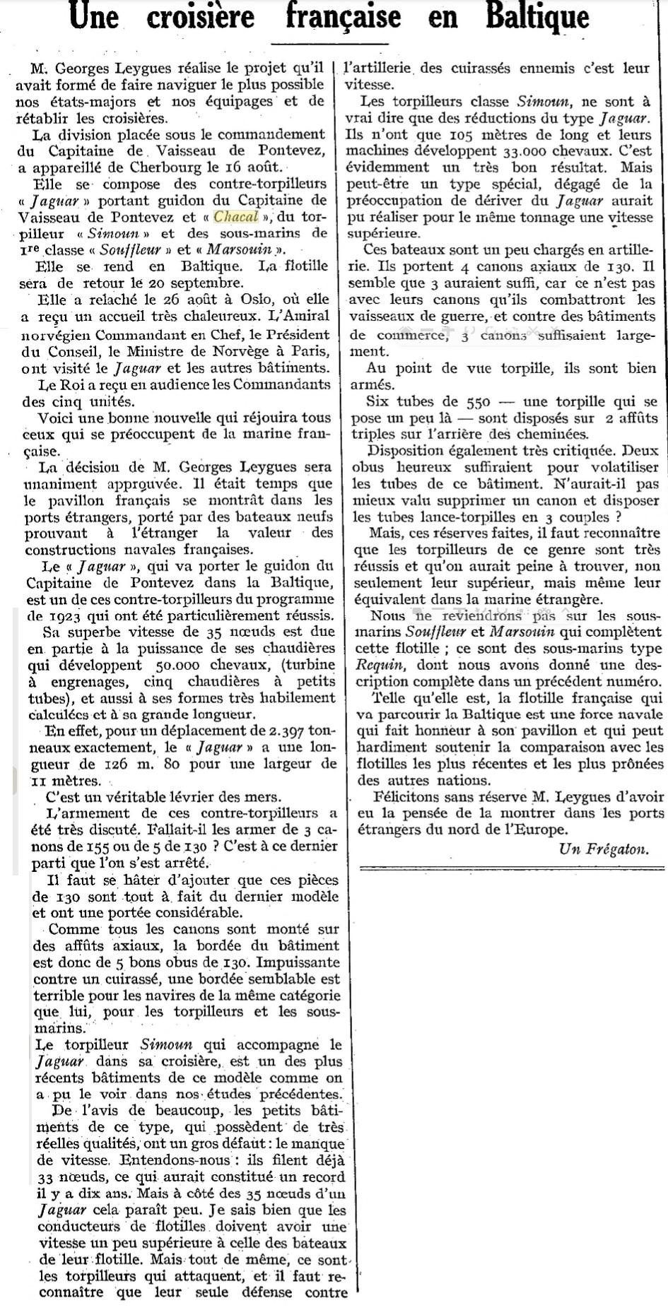 Le contre-torpilleur Chacal 19260911