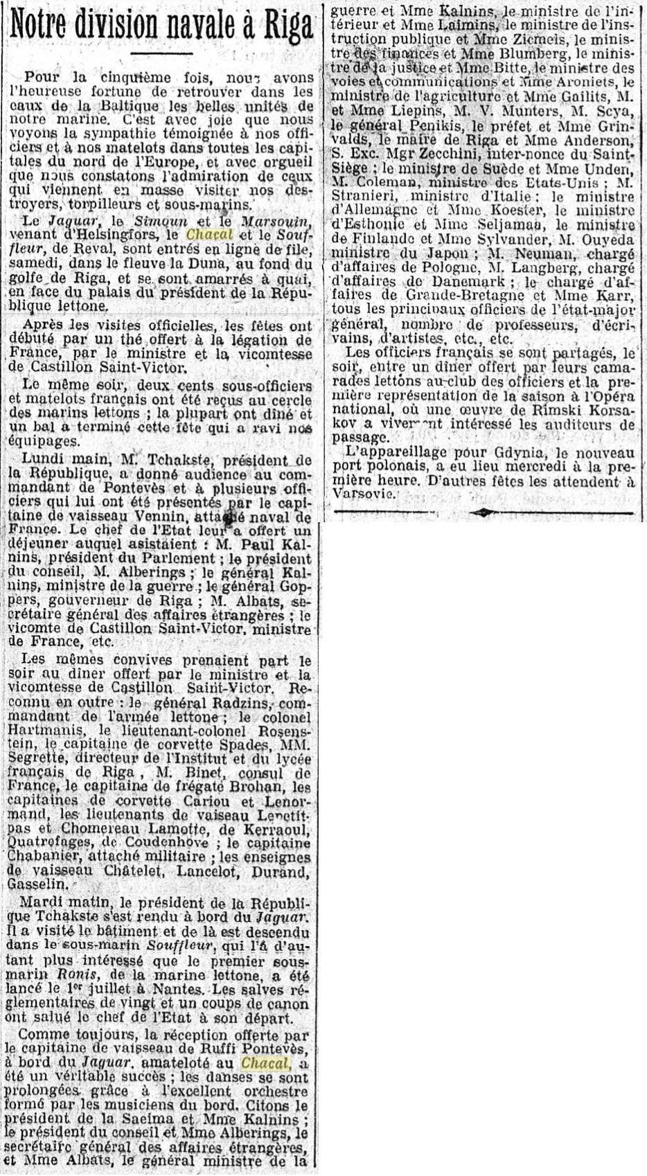 Le contre-torpilleur Chacal 19260914