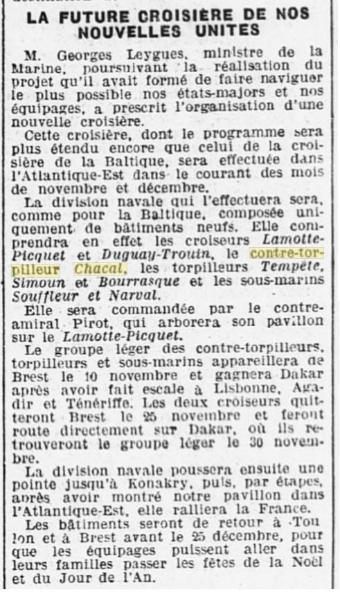 Le contre-torpilleur Chacal 19261010