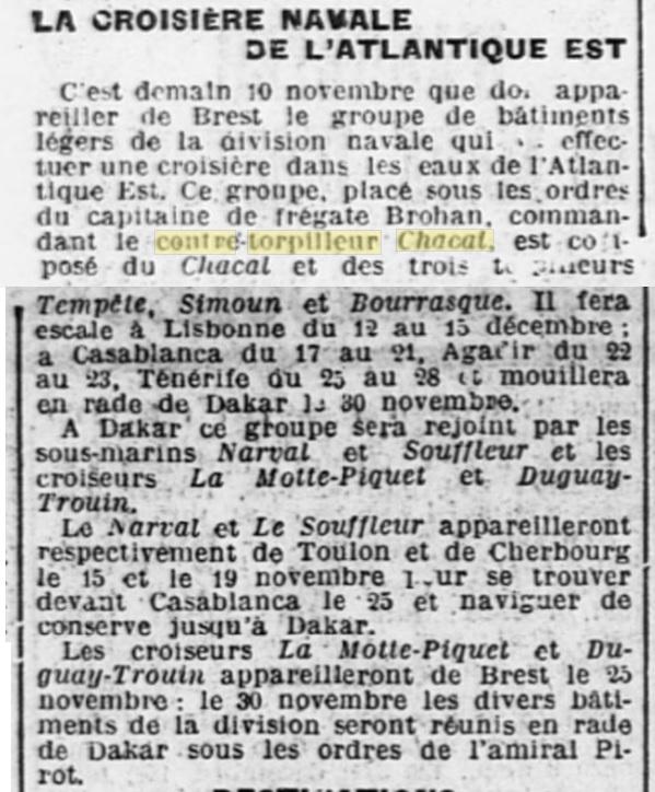 Le contre-torpilleur Chacal 19261110